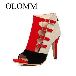 OLOMM 2020 das mulheres sandálias de salto alto-alto nova combinação de cores cinto de fivela de peixe sapatos boca grandes sandálias tamanho da fêmea-315