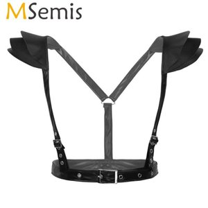 Black Women Faux Leather Top Body Chest Harness Belt with Tiered Shoulder Armor Backless Open Chest Open Bra Leather Harness