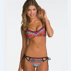 GLANE 섹시한 여성 꽃 비키니 세트 멀티 로프 로우 허리 홀터 수영복 Bandeau 푸시 업 패딩 브래지어 수영복 Beachwear