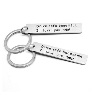 Stainless Steel Keychain Drive Safe Handsome I Love You Key Chain Rings Holders Fashion Jewelry Keyring Gifts for Couples Lovers Women Men