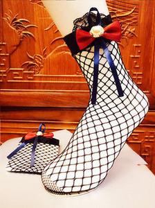 Clearancce Купить один получить один Мода Женщины Девушки Red Bowknot ажурные носки Lace Mesh Цветочные короткие носки SML