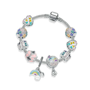 Novos corrente de prata 925 esferas céu arco-íris pulseira flor charme cobra encantos pulseiras presente de aniversário da jóia DIY