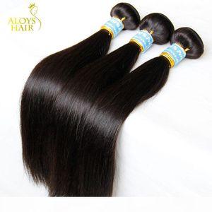 Peruvian Straight Virgin Hair 4 Pcs 8A Unprocessed Peruvian Human Hair Weave Bundles Cheap Peruvian Remy Hair Extensions Natural Black Color