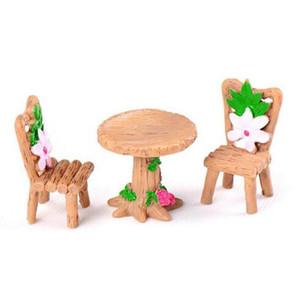 3pcs / Set 테이블 의자 수지 공예 마이크로 풍경 장식 요정 정원 미니어처 Terrarium 입상 분재 장식