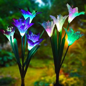 4 رئيس الزنبق زهرة الخفيفة للطاقة الشمسية LED الديكور في الهواء الطلق مصباح الحديقة المنزل والحديقة وهمية أضواء زهرة ليلة IP55 للماء Lampsp
