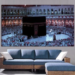 Mecca Islamic Sacred Landscape Oil Painting Hajj Praying Wall Pictures Painting Wall Art for Living Room Home Decor (No Frame)