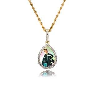 Designer Men Women Hip Hop Necklaces DIY Customized Gold Rhodium Plated Luxury Zircon Water Drop Style Pendant Necklace
