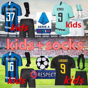 Лукаку ICARDI LAUTARO дети Комплект Интер 2019 2020 футбол Джерси Джерси Perisic Nainggolan дом вдали 19 20 Футбольная форма рубашки