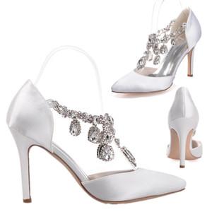 0608-22 горный хрусталь кристаллы атласа свадебное платье обувь острым носом шпильках насосы высоких каблуках 10см Пром танец вечера партии Свадебные аксессуары