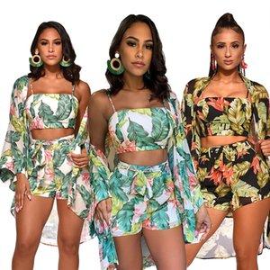 Frauen Drei Stück Set Floral Vertuschen Outfits Print Chiffon Spaghetti Strap Sleeveless Weste Shorts Anzug Strand Trainingsanzug Schwarz Grün