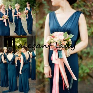 Dark Teal Blue Bridesmaid Dresses Draped Back V Neck Sweep Train Long Garden Country Beach Wedding Guest Gowns Maid Of Honor Dress 2019