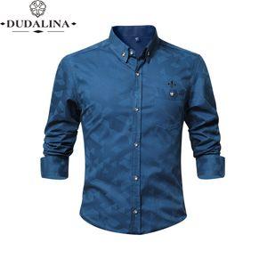 Jacquar Pocket Fashion Blusa Camisa Social Masculina Dudalina Long Sleeve Slim Fit Shirt Men Floral Clothes Pullover White Male CX200620