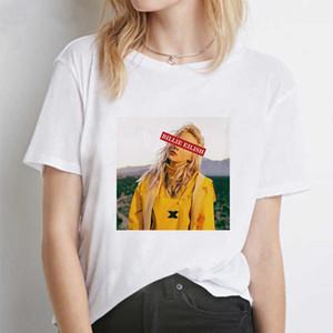 Billie Eilish Womens Designer Tshirts Solid Color Crew Neck Womens Fashion Print Tees Loose Womens Casual Tshirts