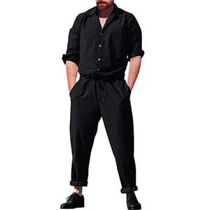 Manga larga de mameluco de los hombres Pantalones de carga ocasionales Mono Pantalones sueltos Traje Hombres Monos casuales Conjuntos sólidos