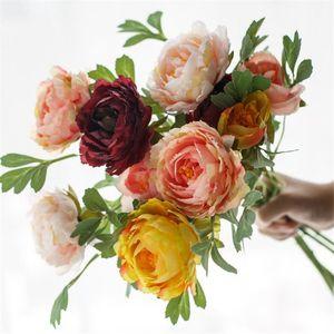 "Fake Short Stem Peony (2 heads bunch) 23.23"" Legth Simulation Classical Peonia for Wedding Home Decorative Artificial Flowers"