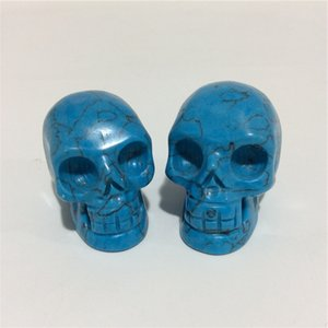 2inches gros de haute qualité Skull Turquoise Naturel Forme Pierres cristal sculpté à la main Palm pour le présent ou Collection