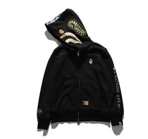 Alta marca de venta caliente de los hombres cabeza de tiburón impresa chaqueta de manga larga casual sudaderas con capucha sudaderas de invierno abrigo para hombre gris negro más el tamaño 2xl