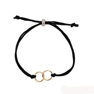Wish Card Friendship Double Rings Bracelets For Women Men Handmade Black Red Rope Chain Bracelets Adjustable Kids Jewelry for Friends