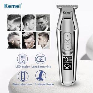 Máquina Maquinilla recargable Pantalla Lcd 5027 cortador Trimmer Kemei Hombres Barba Navaja peluquero profesional Kemei pelo eléctrico ZUlrw