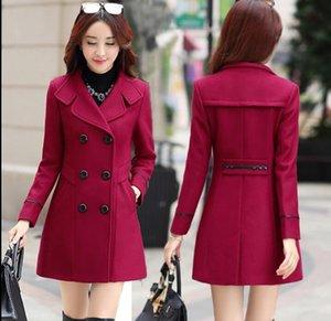 2020 spring autumn new slim mid-length double-breasted lapel fashion woolen coats women Outerwear Windbreaker jacket coat