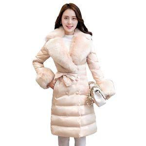 Yüksek kalite 2019 Beyaz ördek aşağı 90% İnce Aşağı giysi ceket Yeni Kore MS Kış ceket Sıcak Kürk yaka Zarif Ceket Kadınlar