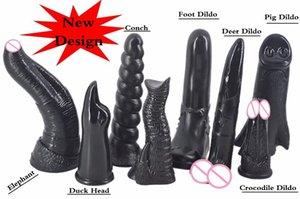 Hot vente gode animal énorme Long Dog Cheval Loup gode pénis avec ventouse Big et épais Sex Toys pour les femmes Plug anal gode Y200422