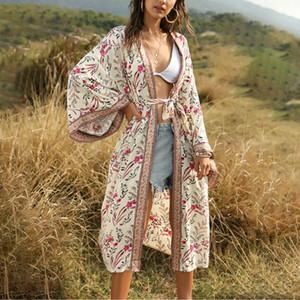 AYUALIN бежевой цветочных принто плавания сокрытие женщины платье Boho 2020 лето кимоно vestidos пляжа износа свободного случайные вискозы халат