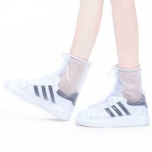 Couvre-chaussures de pluie chaussures de protection extérieure Boot Cover Unisexe Zipper Couvre-chaussures de pluie haut-Top anti-Slip chaussures de pluie Cas DH0886