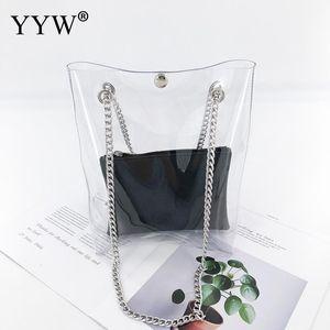 Grand Sacs à bandoulière chaîne Capacité femmes surface douce PVC Été Casual Sac fourre-tout sans doublure Sacs à main transparent Femme Mode