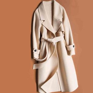 de moda estilo coreano larga para mujer abrigos de invierno mujeres de la capa de lana otoño señoras de la manera tapas ocasionales de ropa femenina caen 2019