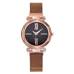 Hot Sale Alloy Quartz Starry Sky Wristwatches Simple Stars Lazy Lady Watches Roman Number Mesh Watches