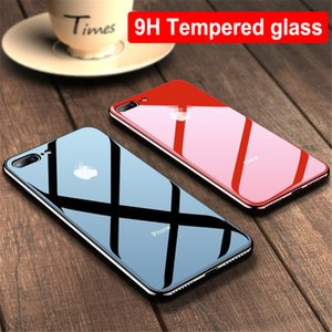 For iPhone X XS MAX XR 9H Luxury Hybrid Electroplated Tempered Glass Phone Case For iPhone 8 7 6S Plus Back Protection Cover
