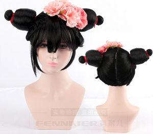 White Snake Origins Bao Qingfang Master Old Fox Personajes Doble Horquilla Flor Sombreros Cos peluca