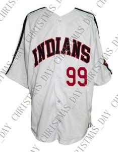 Ucuz Custom Rick Vaughn # 99 Major League Film Beyzbol Jersey Düğme Aşağı Beyaz Dikişli Herhangi bir oyuncu forması kolej forması XS-5XL