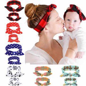 2020 2Pc Set DIY Mom Mother & Girl Rabbit Ears Headband Plaid Bow Hairband Turban Knot Headwrap