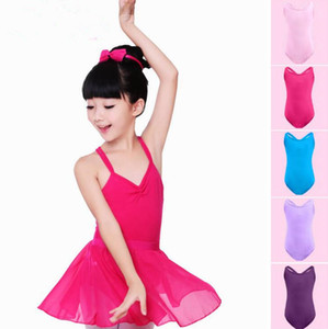 Enfants Stylistes justaucorps Filles Ballet Danse Costume de gymnastique Bodysuit Dancewear Double sangle croix yoga enfants fille robe manches DYP424