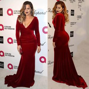 2020 Oscar Khloe Kardashian Wine Red Velvet Plus Size Sheath Evening Dresses Sexy V-Neckline Sheath Celebrity Party Gowns Red Carpet Dress