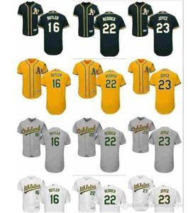 Custom hombres mujeres niños OaklandAthletics Jersey 16 Billy Butler 22 Josh Reddick 23 Matt Joyce verde béisbol Jersey regalo