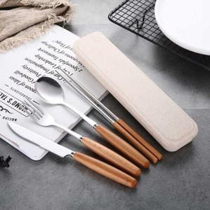 Taşınabilir Çatal Seti Paslanmaz Çelik Bıçak Çatal Kaşık Chopsticks Sofra takımı ile Saklama Kutusu Öğrenci bulaşığı Seyahat Yemek takımı Seti