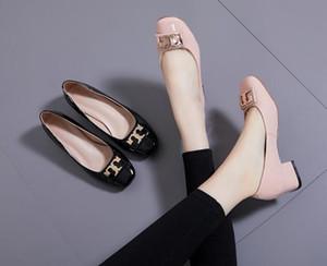 Heißer Verkauf- Frauen Metallknopf Mid Heel Kleid Schuhe Leder Hochzeitsschuhe High-Heeled Platform Echtes Leder Kleid Schuhe