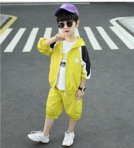 Summer children's short-sleeved boy suit student Korean loose shirt summer T-shirt casual five-point sleeve clothes + shorts