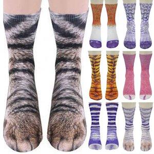 Automne drôle unisexe Hommes Femmes élastique Sock animal Patte Pieds Crew 3D Foot Print Socks doux Chaussettes Mignon Cadeau