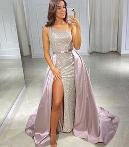 Sexy Evening Dresses With Detachable Train one shoulder Bling Sequins Tulle Mermaid Prom Dress Overskirts Formal Gowns custom made