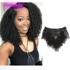 Малайзийские человеческие волосы афро кудрявый вьющиеся клип в наращивание волос естественный цвет модулей оптом 120г вьющиеся клип В волос