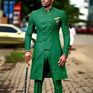 Trajes para hombres Bridalaffair smoking del novio boda india ropa de sport traje de hombre de la chaqueta de los hombres verde Trajes de boda delgado (chaqueta + pantalones)