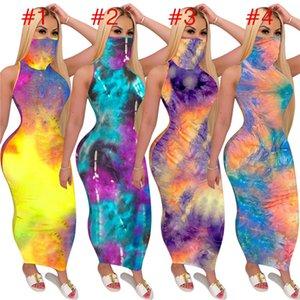 Farbe Tie-Dye-Frauen-Sommer-Maxi lange Kleid mit Gesichtsmaske ärmellosen Kleid Sunproof Facemask Schal-Partei-Verein Gelegenheits Bodycon Kleider D52716