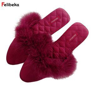 FELIBEKA 2018 Turquie Printemps Eté Plume style intérieur étage Pantoufles Bureau Air Coton Absorbant Sweat Chaussons Hot