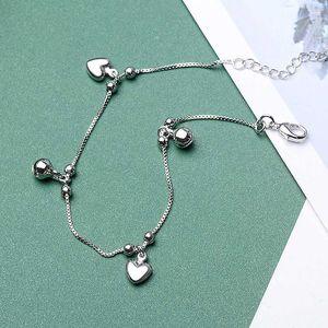 حزب LISM 100٪ 925 فضة الأزياء الكورية قلب الحب جرس خلخال سوار للنساء مجوهرات الزفاف هدايا رومانسية