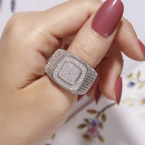 Роскошные хип-хоп микро проложить CZ камни все обледенелые Bling кольцо 925 серебро позолоченные хип-хоп кольца для мужчин ювелирные изделия мальчик ПОДАРОК размер 8-13