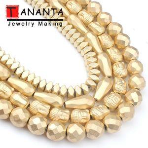 Facettes naturel mat Hématite Pierre Perles en Or Colos Bouddha Tête ronde Perles goutte d'eau pour les bijoux Bracelet Faire Diy 15inch